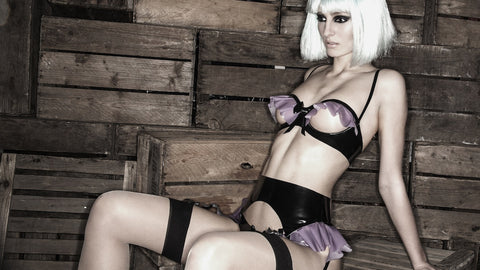 Kitty Latex Open Cup Bra in Lilac