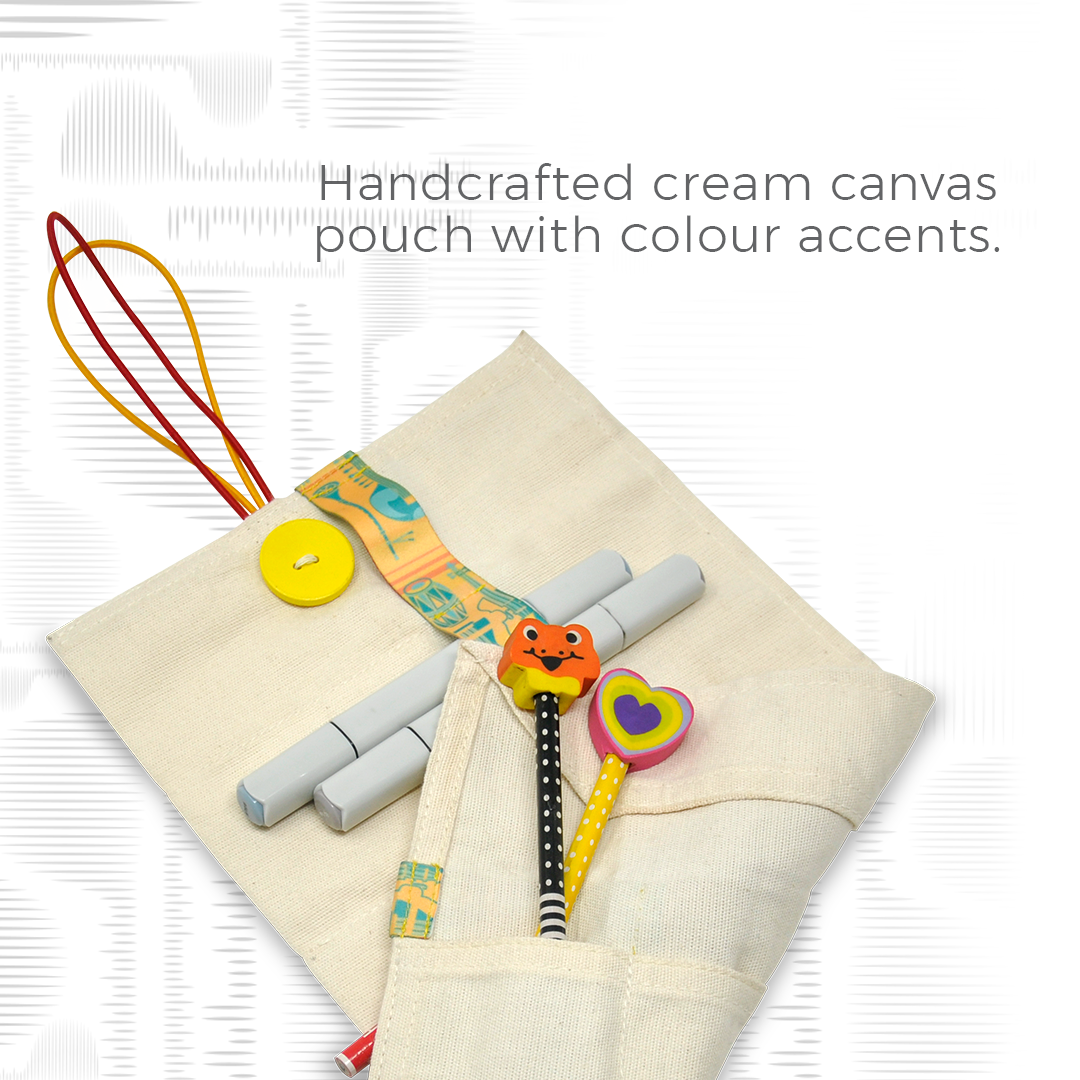 Cream Canvas Polyester Pouch Large