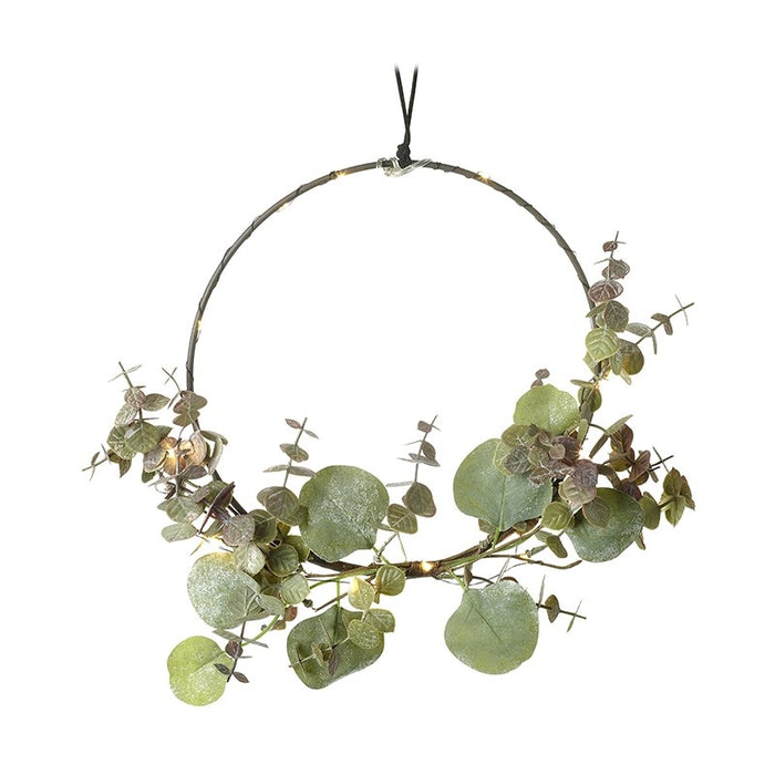 Hoop Wreath With Green Foliage and Lights