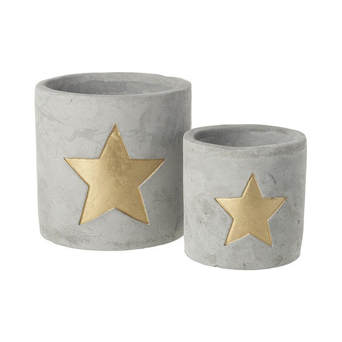 Cement Cut Out Star Tealight Holder - Set of 2