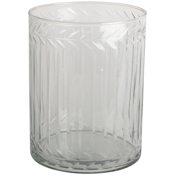 Etched Glass Hurricane Candleholder