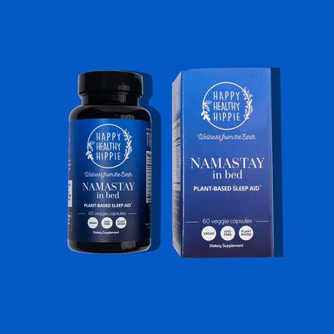 NAMASTAY IN BED Sleep Melatonin & Insomnia Aid Supplements - 60 capsules