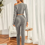 Loungy Solid Color Top With Pants Lounge Set