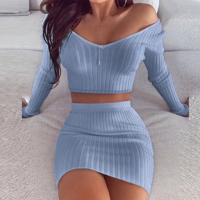 Slash Neck Striped Knitted Dresses