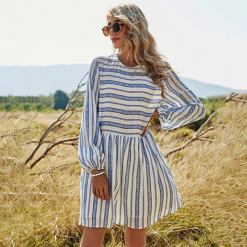 MODERLYBAL®Spring New Lantern Sleeve Striped Dress
