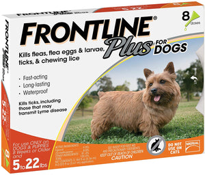 Frontline Plus Flea and Tick Treatment for Small Dogs (5-22 Pounds) (8 Doses)