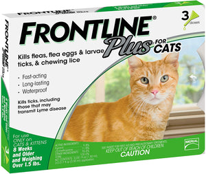 FRONTLINE Plus Flea and Tick Treatment for Cats (3 Doses)