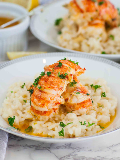 Butter Poached Lobster Tails with Risotto