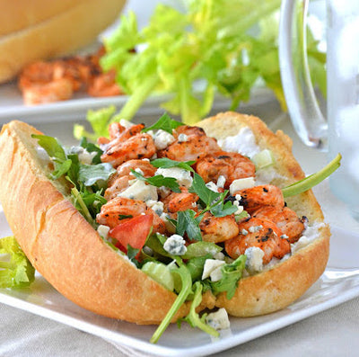 Grilled Buffalo Shrimp Po' Boys