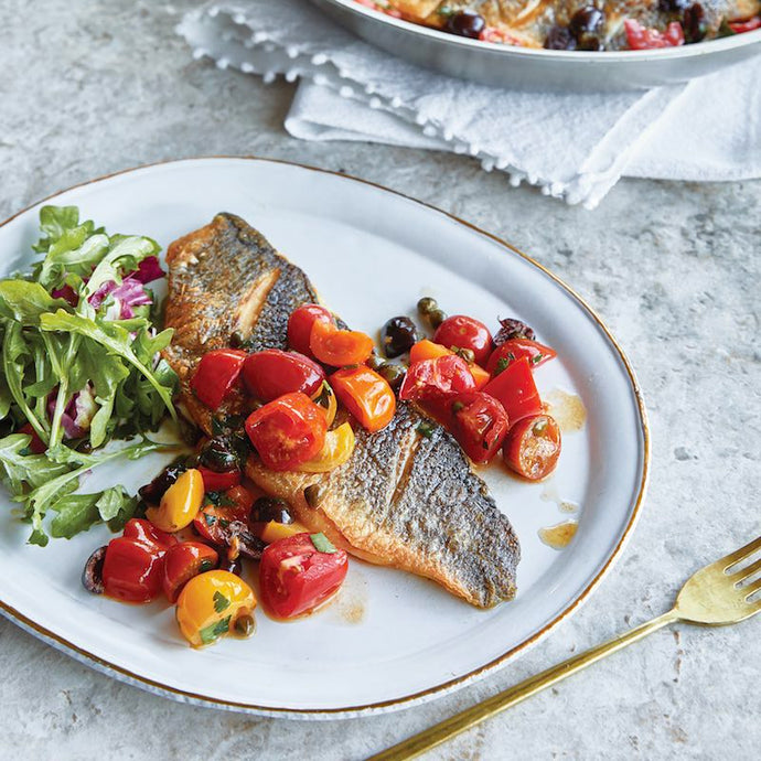 Pan Seared Branzino with Tomato and Capers