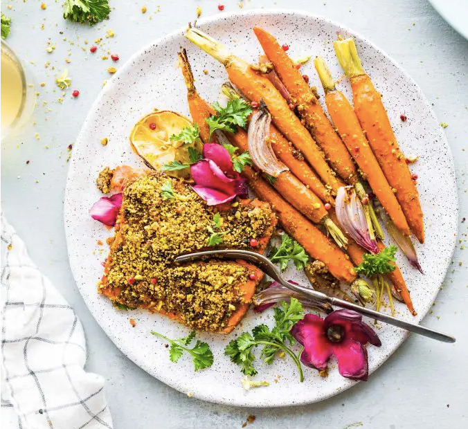 Sheet Pan Pistachio Crusted Salmon with Glazed Carrots