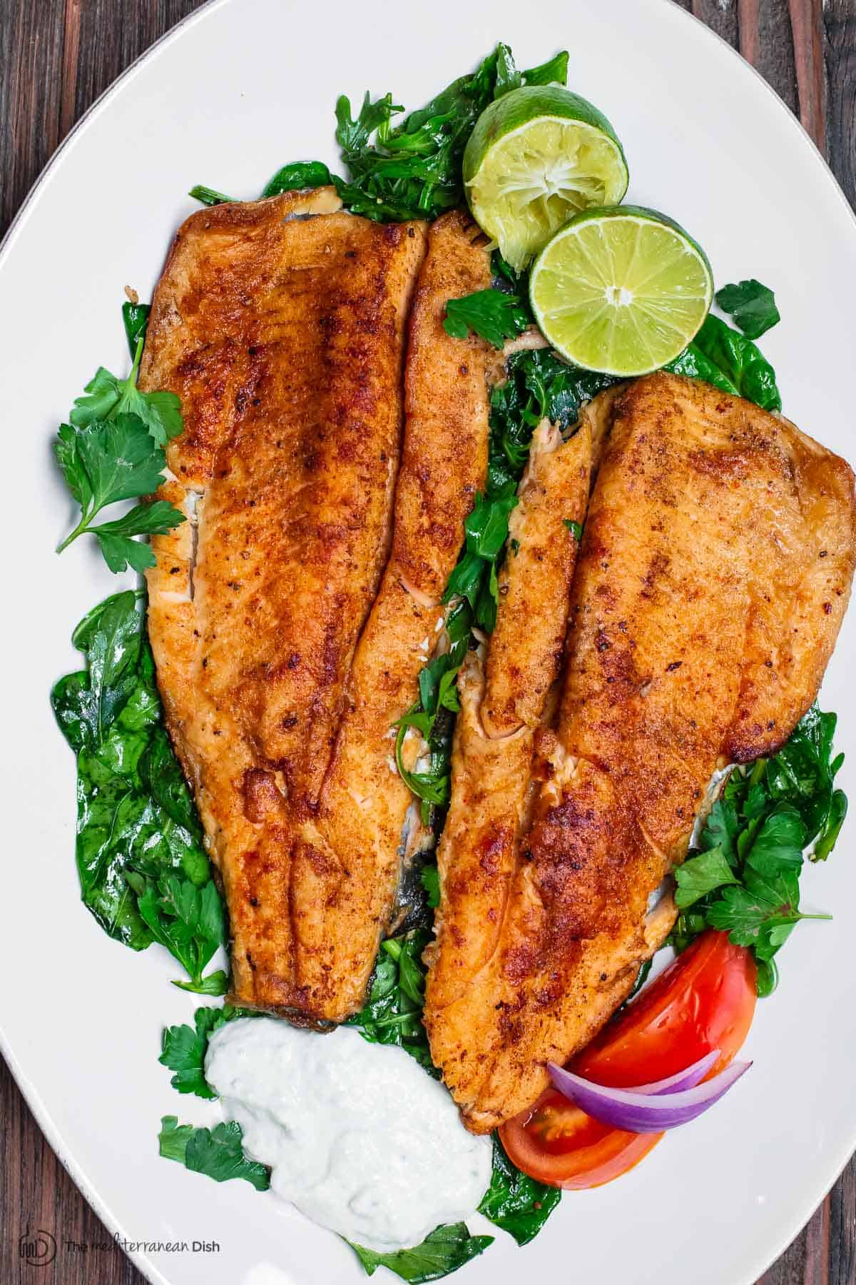Mediterranean Pan Seared Trout with Tzatziki