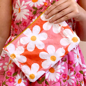 Plastic-Covered Zip Pouch in Daisy Daydreams