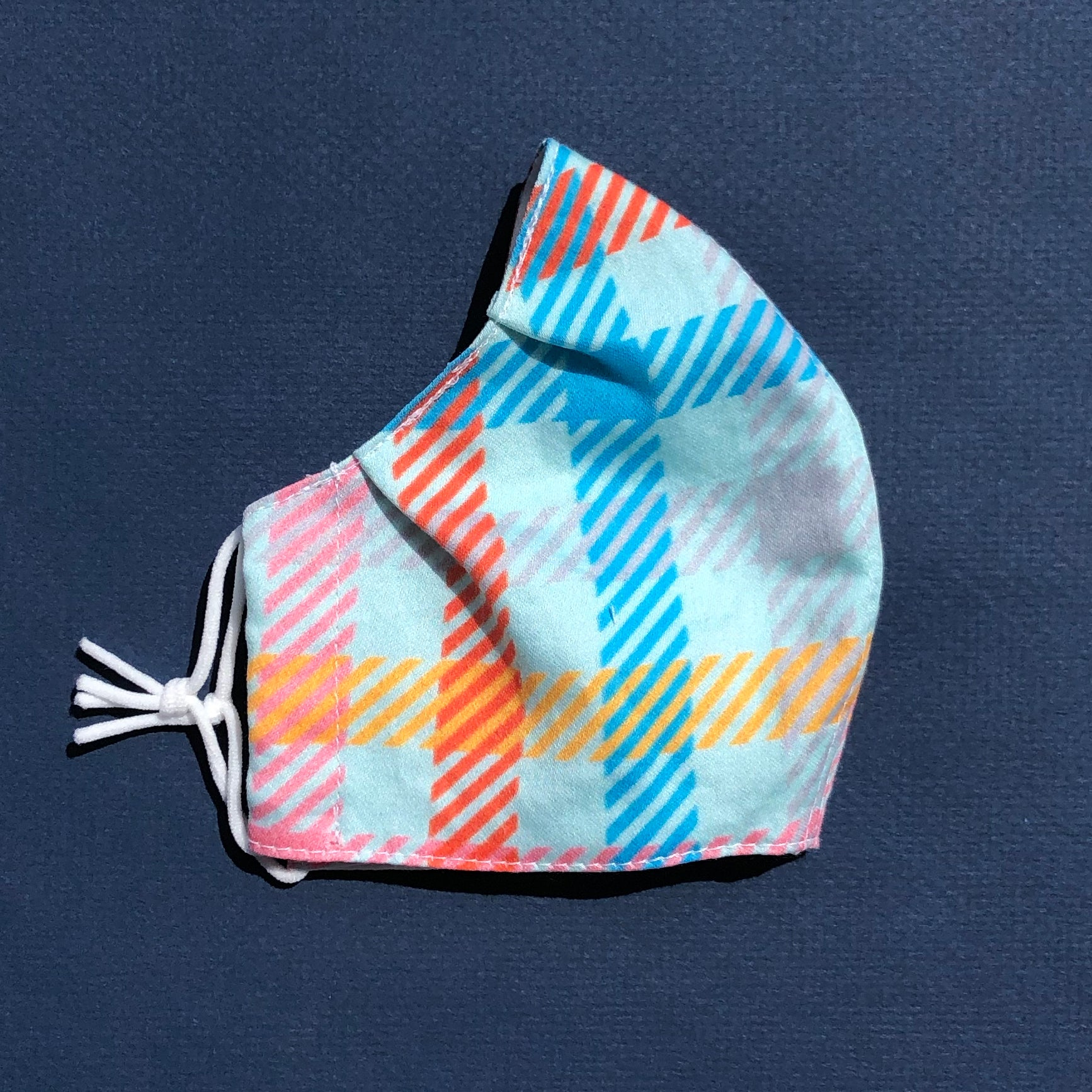 Small Pleated Mask in Candy Plaid