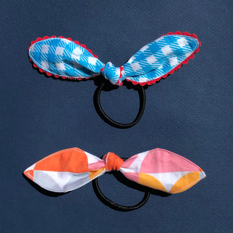 Pair of Hair Ties in Blue Gingham and City Sunset