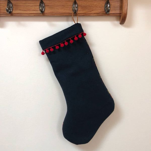 Upcycled Wool Stocking: Navy