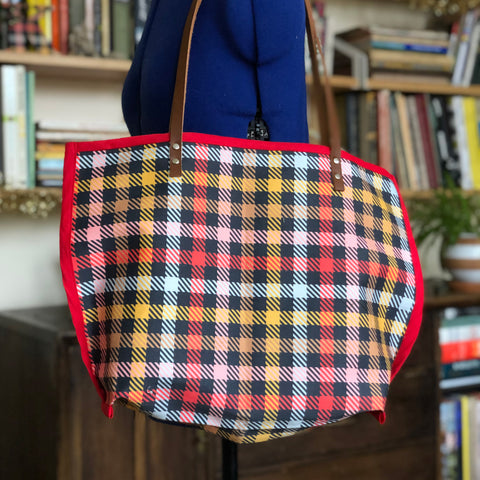 Inside Out Tote in Cubicle Plaid