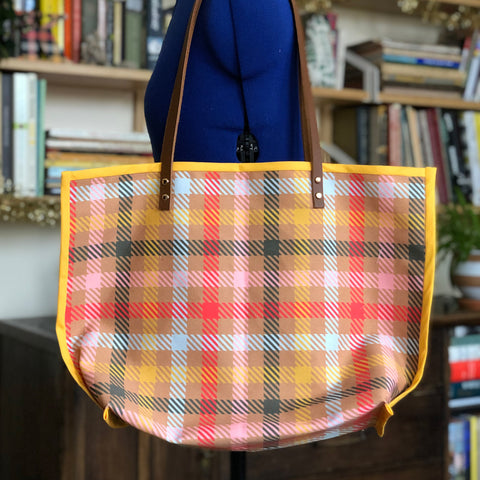 Inside Out Tote in Conference Room Plaid