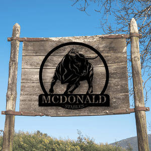 Personalized Bull Ranch Sign