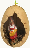 Paper Mache Egg with Mrs. Bunny