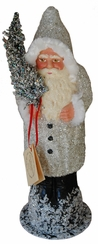 Silver Coated Santa Paper Mache Candy Container by Ino Schaller