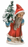 Miniature Santa with Tree Paper Mache Figurine by Marolin