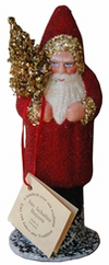 Red Beaded Santa with Gold Tree Paper Mache Candy Container by Ino Schaller