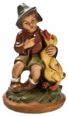 Boy with Young Duckling Paper Mache Figurine by Marolin