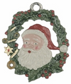 Santa Wreath, Painted on Both Sides Pewter Ornament by Kühn