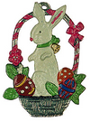 Bunny in Basket, Painted on Both Sides Pewter Ornament by Kühn