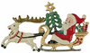 Santa in Sled with Reindeer, Painted on Both Sides Pewter Ornament by Kühn