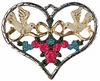 Heart with Doves & Flowers, Painted on Both Sides Pewter Ornament by Kühn