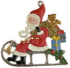 Santa on Sled, Painted on Both Sides Pewter Ornament by Kühn
