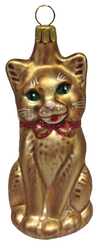 Brown Cat Ornament by Hausdorfer Glas