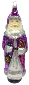 Tall Purple Santa with Lantern and Teddy Ornament by Hausdorfer Glas Manufaktur