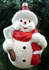 Red Snowman with Broom Ornament by Hausdorfer Glas Manufaktur