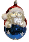 Santa on Blue Ball Ornament by Hausdorfer Glas Manufaktur