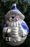 Blue & White Snow Woman with Lantern Ornament by Hausdorfer Glas Manufaktur