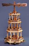 Three-Tier Natural Nativity Pyramid with Bavarian Fence by Franz Karl