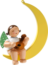 Angel with Mandolin on Moon, Hanging Wooden Ornament by Wendt and Kühn