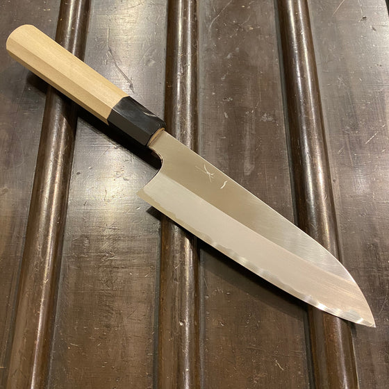 Hitohira Togashi 180mm Santoku Shirogami 1 Stainless Clad Ho Handle