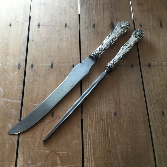 German Carving Knife and Steel Sterling Pat 1893