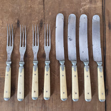 Meriden Cutlery Co Knife & Fork Set of 4 Bone & Pewter 1855-1918 (these 1870's?)