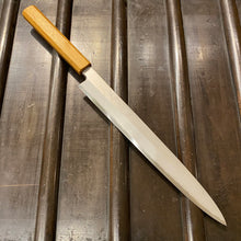 Kikumori 240mm Yanagi Rain Drop Suminagashi Octagonal Oak - Floor Model