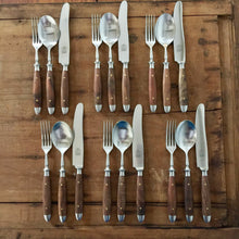 Eichenlaub Forged Tableware - Set of 18 - Old German Table Knife + Table Fork + Table Spoon - Walnut Matte