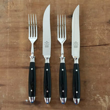 Eichenlaub Forged Tableware - Set of 4 - Steak Knife + Table Fork - Light and Shade Polish