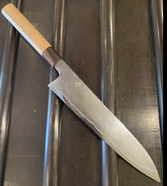 Takada no Hamono 240mm Gyuto - Suiboku Finish Aogami 2 Iron Clad - Cherry & Ebony Octagon