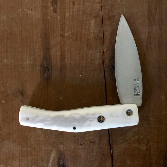 Pallares Busa 10cm Folder - Stainless - Polished Stag with Pin