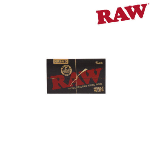 RAW Black Single Wide Double Window Rolling Papers Box of 25