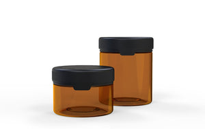 220CC/7.5FL.OZ/220ML Aviator CR - XL Container With Inner Seal & Tamper - Translucent Amber With Opaque Black Lid - Copackr.com